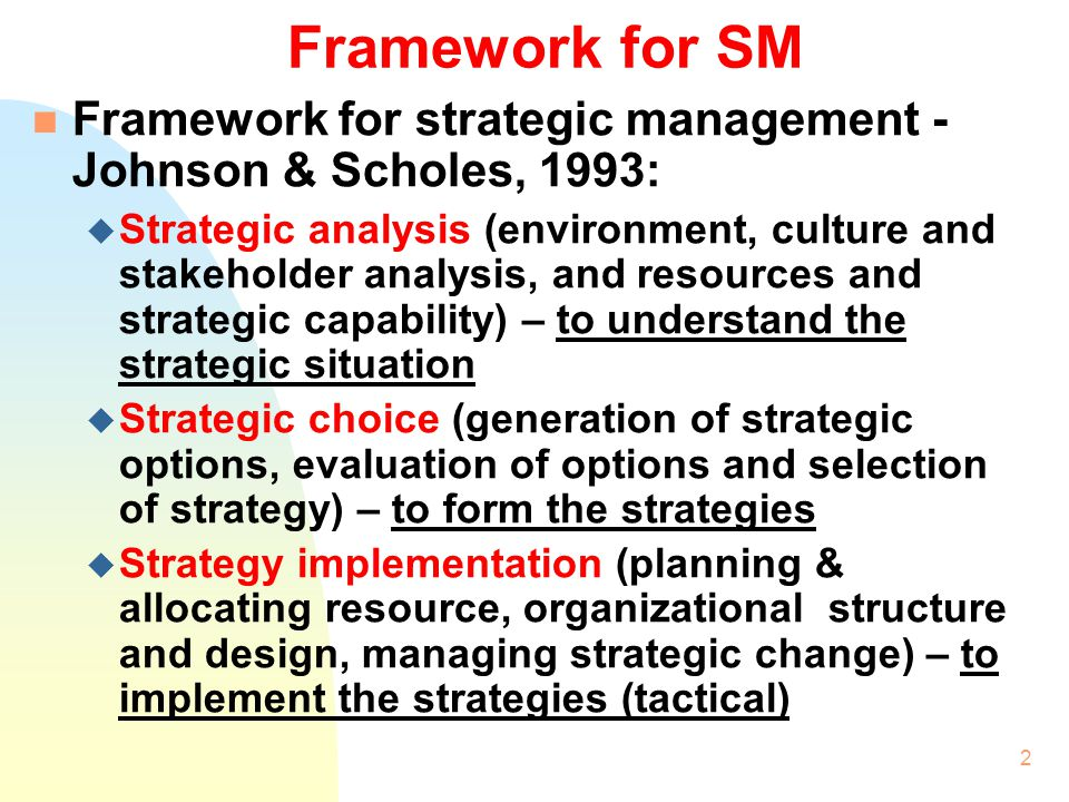 Framework for SM Framework for strategic management - Johnson & Scholes, 1993: