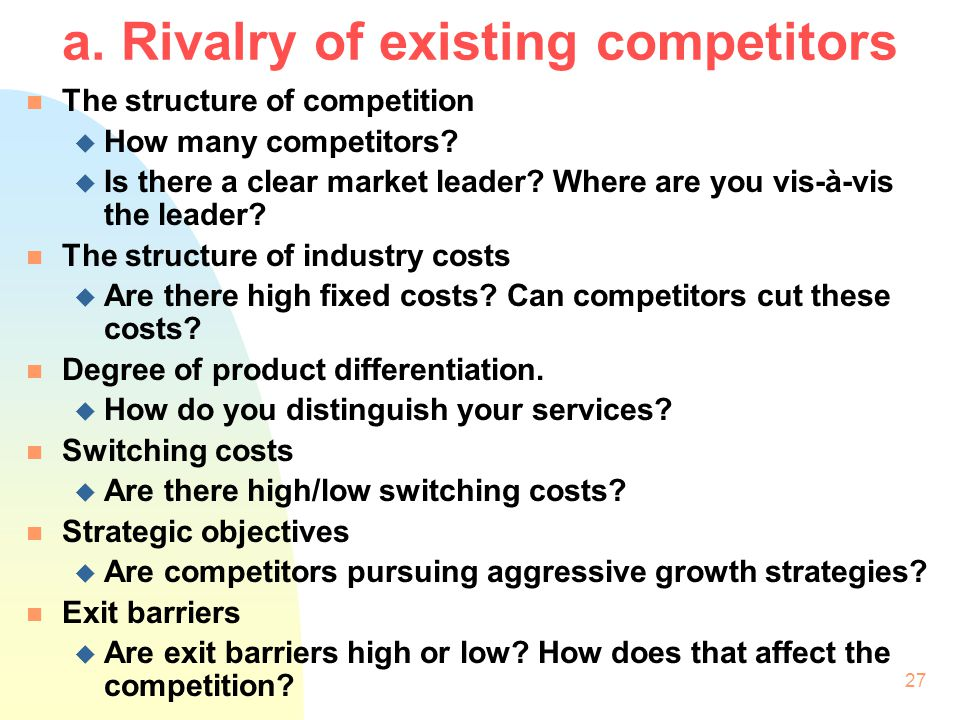 a. Rivalry of existing competitors