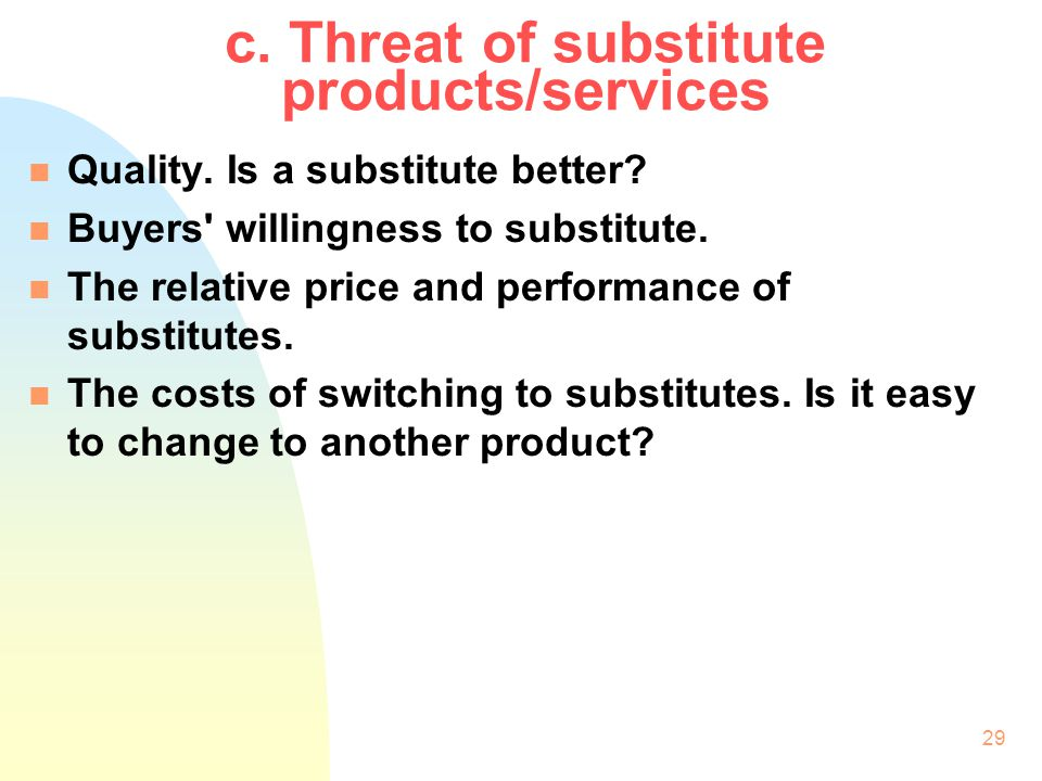 c. Threat of substitute products/services