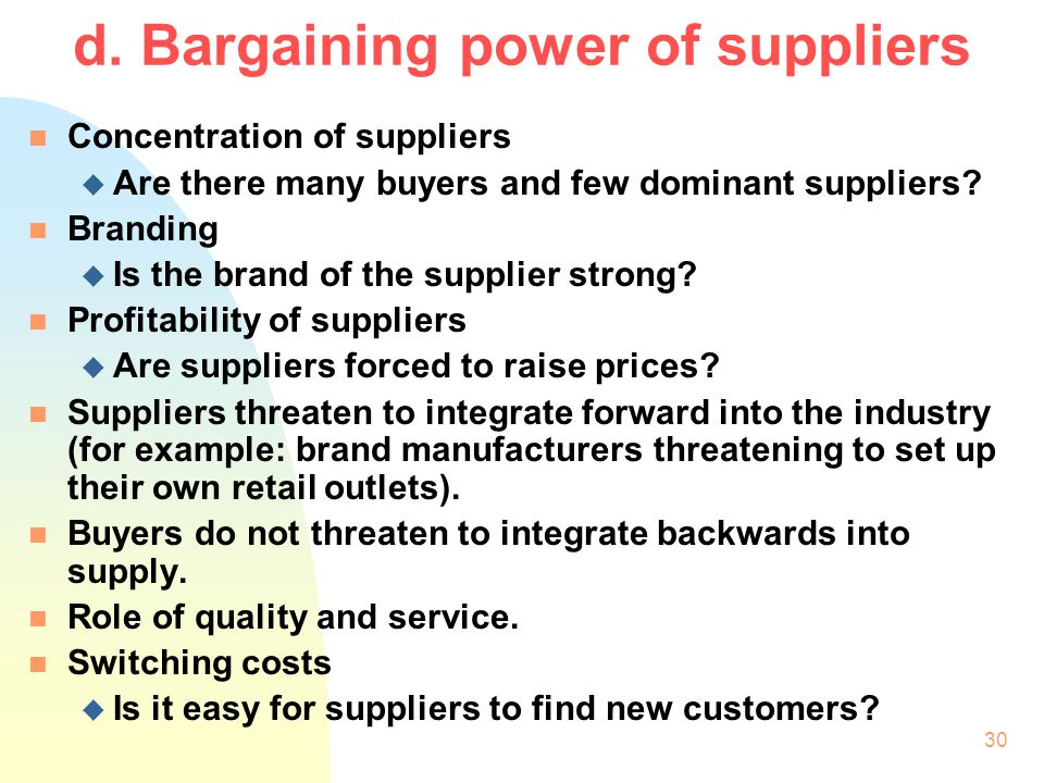 d. Bargaining power of suppliers