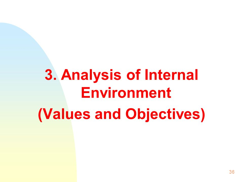 3. Analysis of Internal Environment (Values and Objectives)