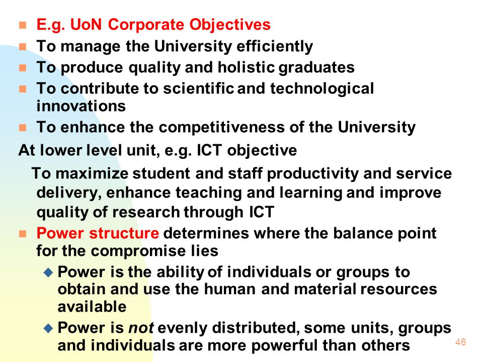 E.g. UoN Corporate Objectives