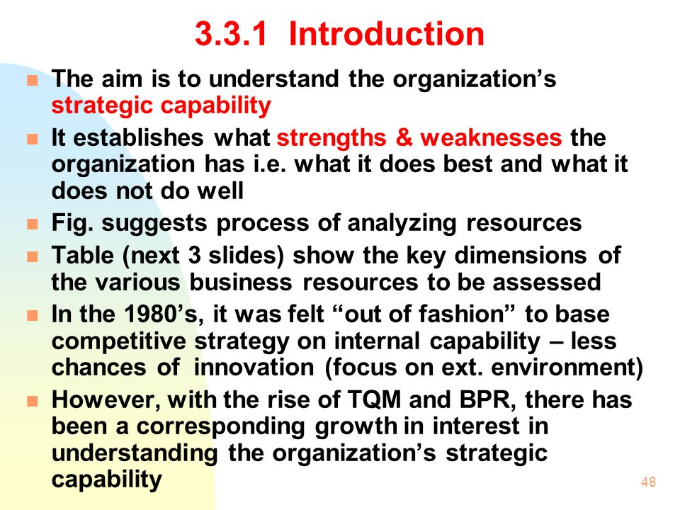 3.3.1 Introduction The aim is to understand the organization's strategic capability.