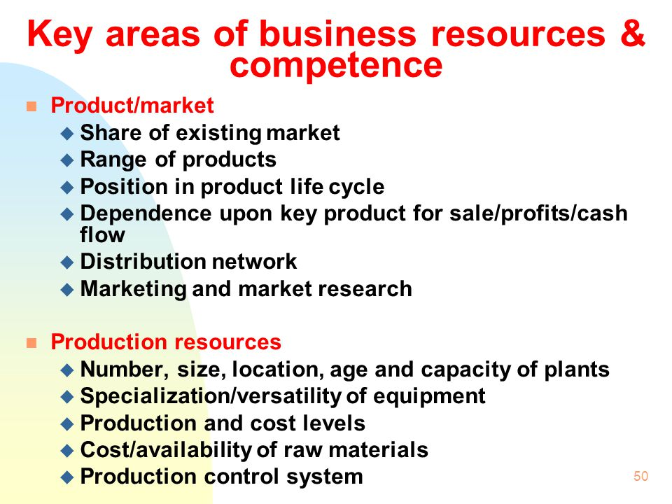 Key areas of business resources & competence