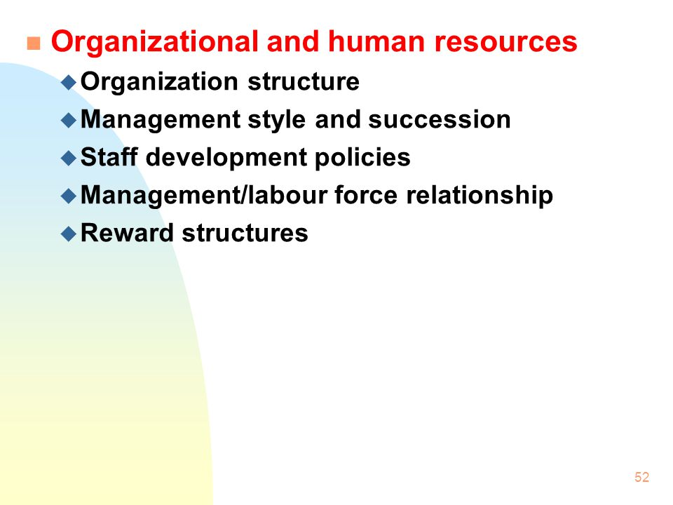 Organizational and human resources