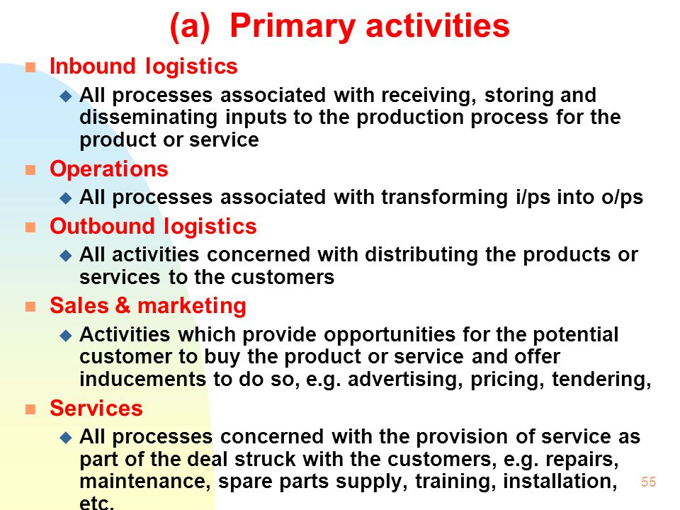 (a) Primary activities