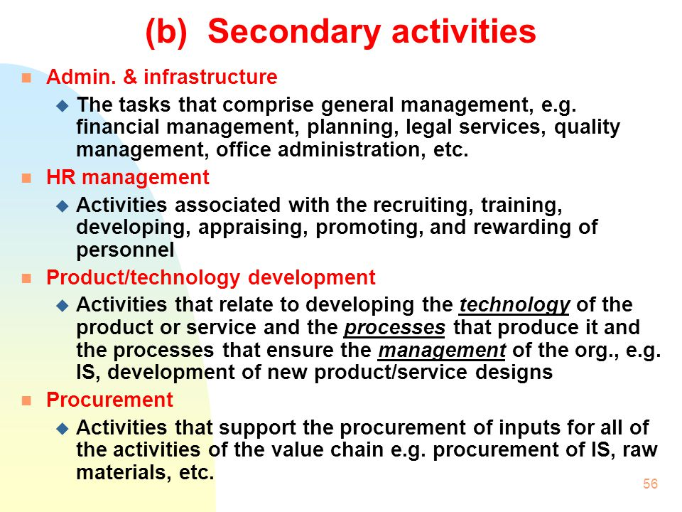 (b) Secondary activities