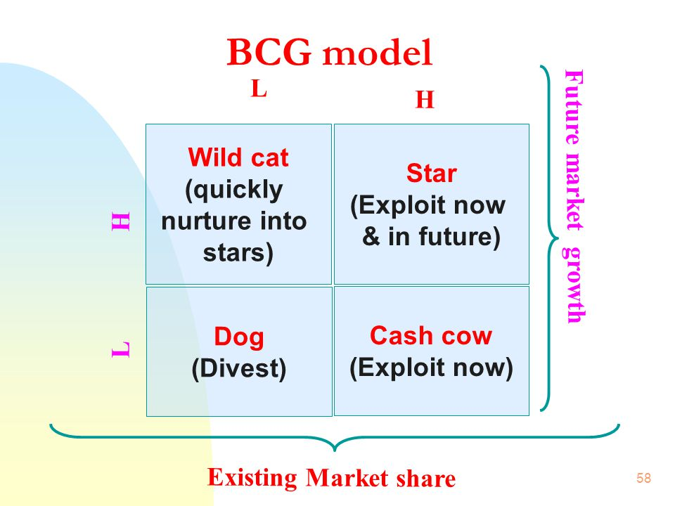 BCG model L H Wild cat Star (quickly Future market growth (Exploit now