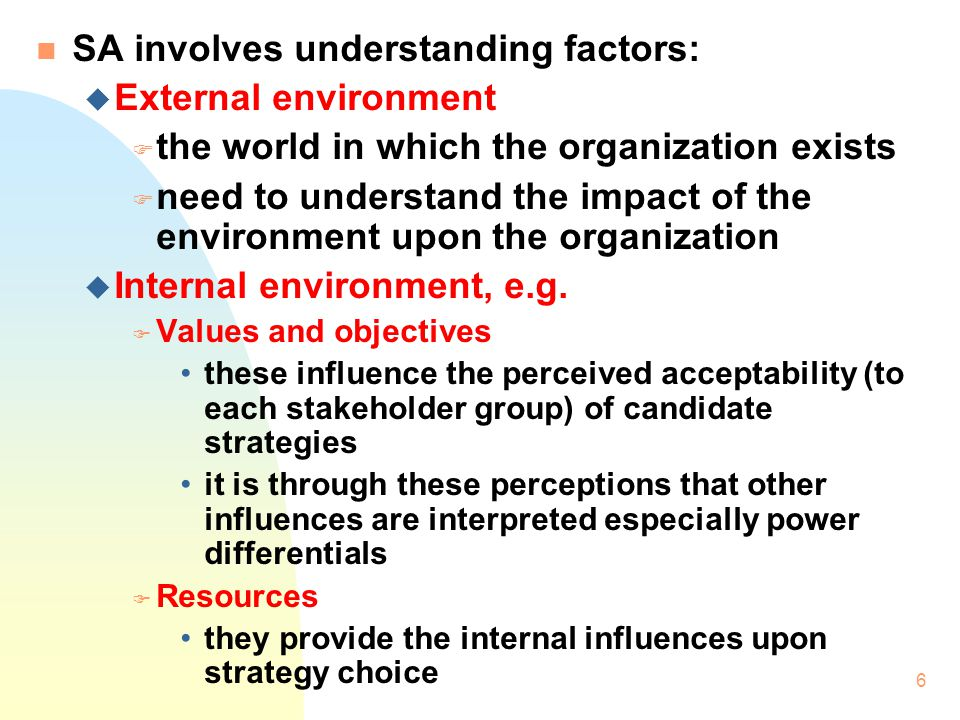 SA involves understanding factors: External environment