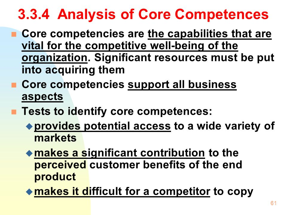 3.3.4 Analysis of Core Competences