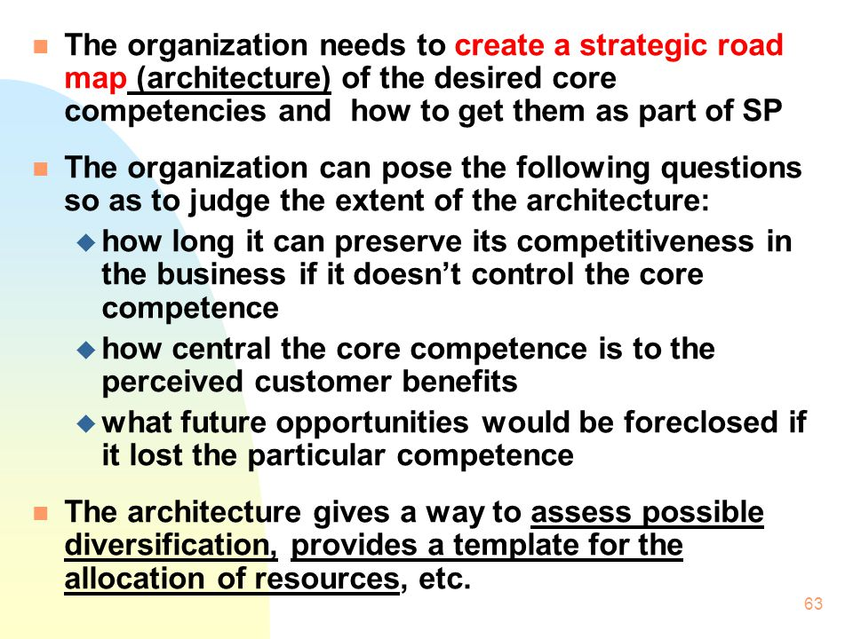 The organization needs to create a strategic road map (architecture) of the desired core competencies and how to get them as part of SP