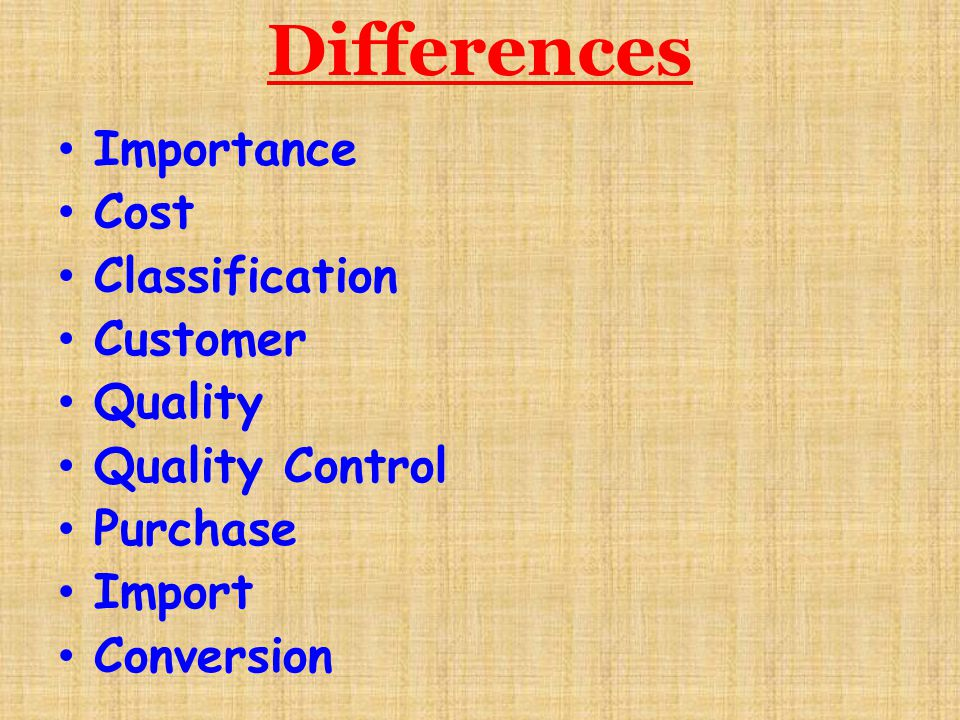 Differences Importance Cost Classification Customer Quality
