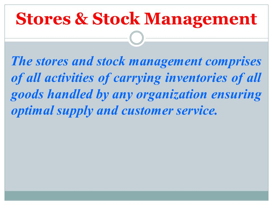 Stores & Stock Management