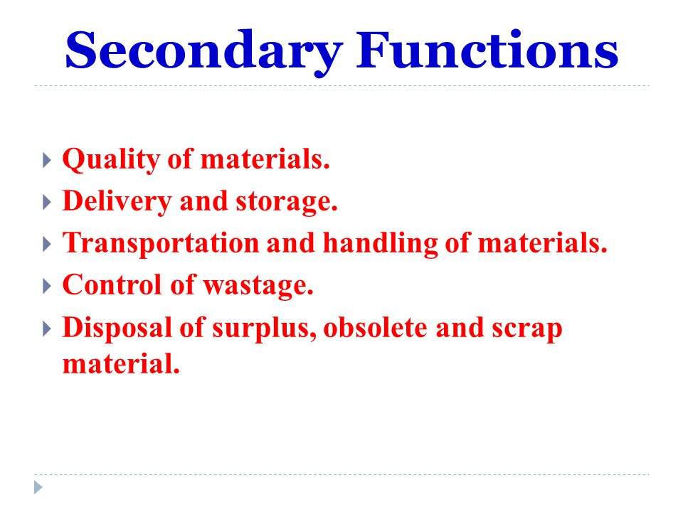 Secondary Functions Quality of materials. Delivery and storage.