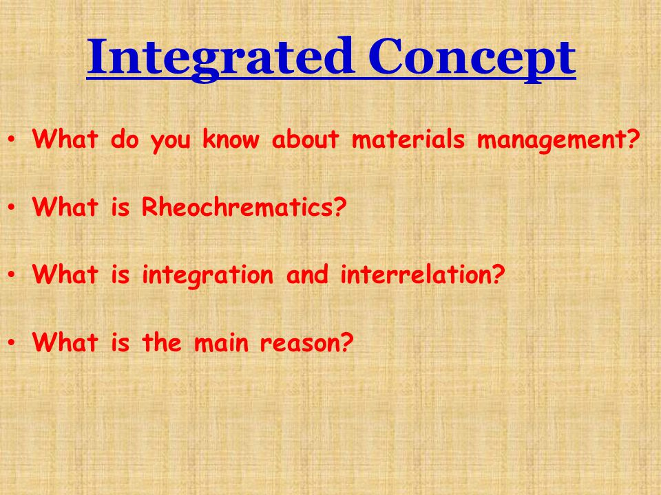 Integrated Concept What do you know about materials management