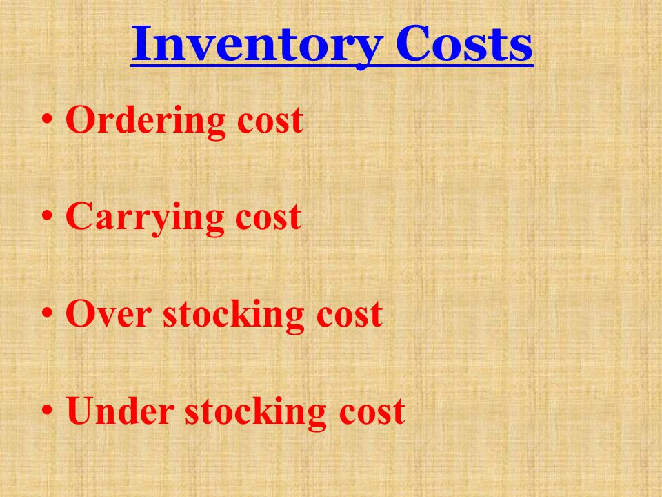 Inventory Costs Ordering cost Carrying cost Over stocking cost