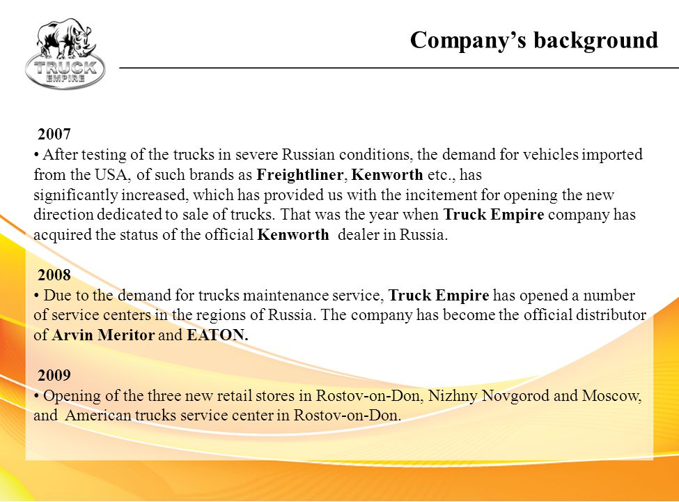 Company's background 2007.