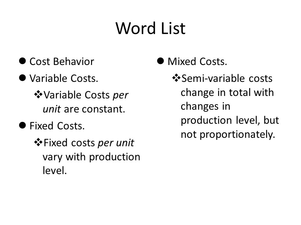 Word List Cost Behavior Variable Costs.