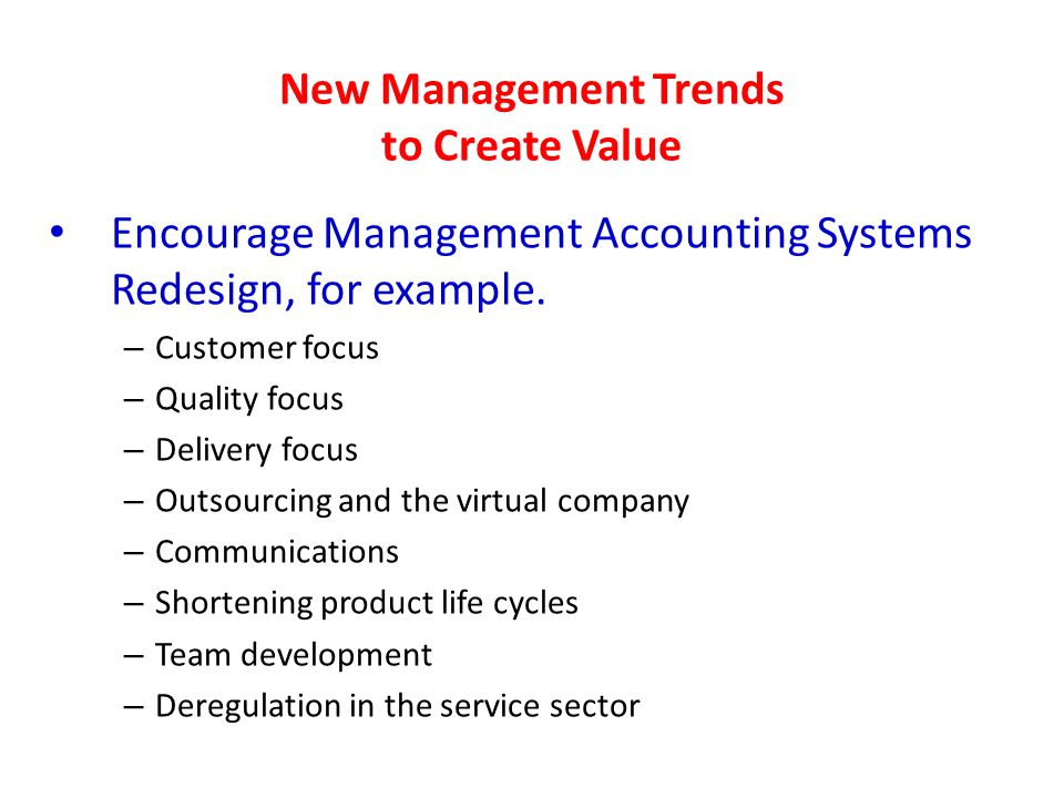 New Management Trends to Create Value