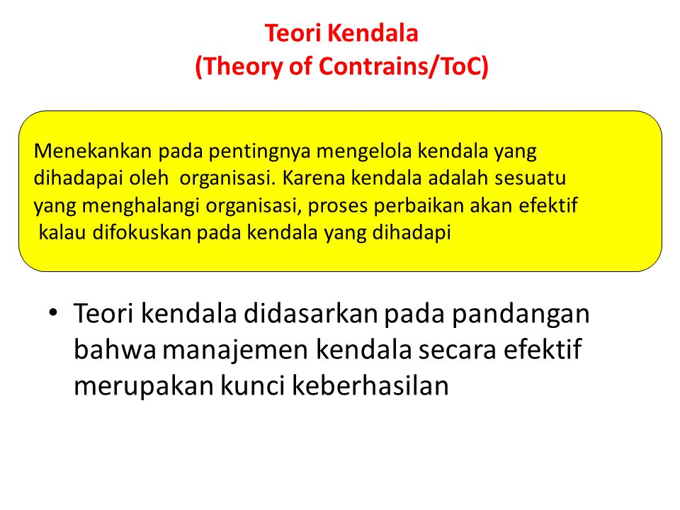 Teori Kendala (Theory of Contrains/ToC)