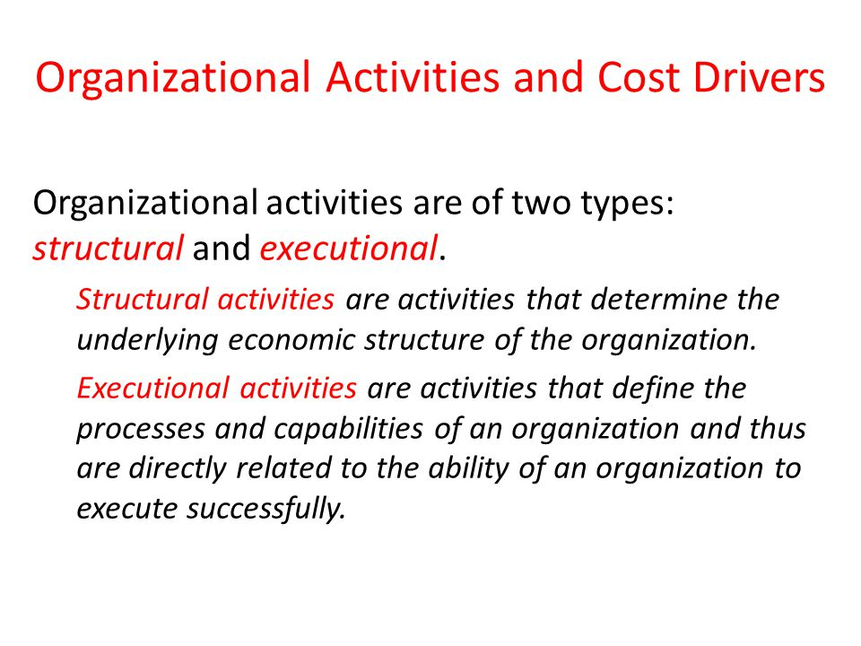 Organizational Activities and Cost Drivers