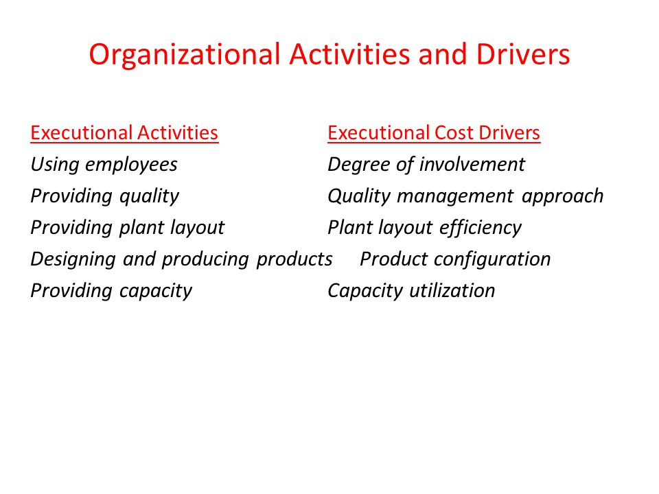 Organizational Activities and Drivers