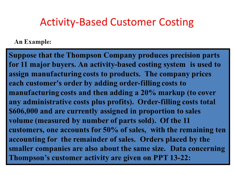 Activity-Based Customer Costing