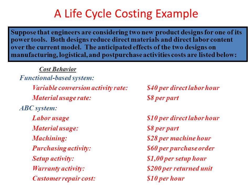 A Life Cycle Costing Example