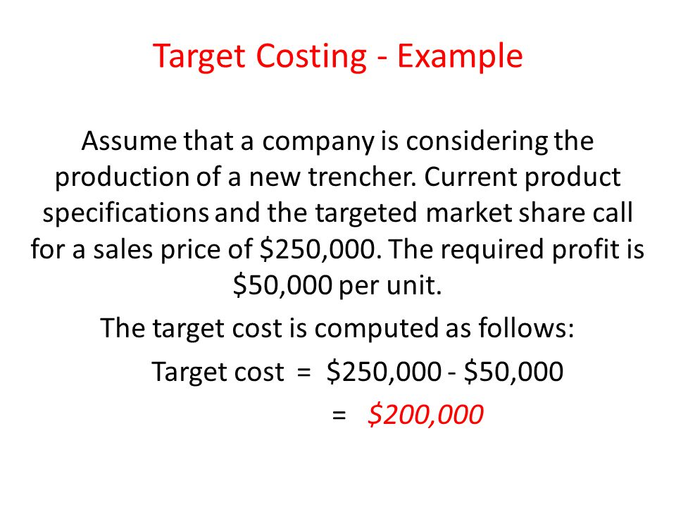 Target Costing - Example