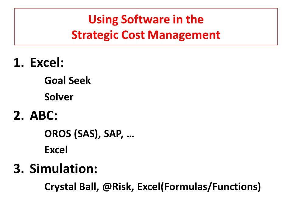 Using Software in the Strategic Cost Management