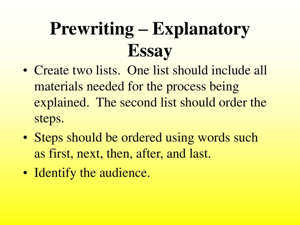 Process essay how to create the list