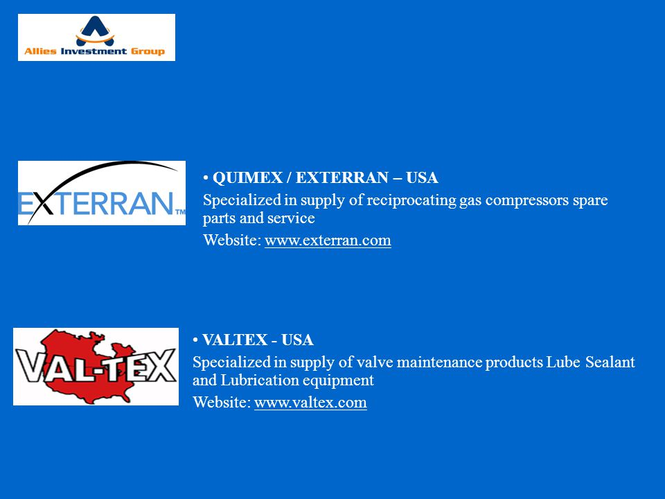 QUIMEX / EXTERRAN – USA Specialized in supply of reciprocating gas compressors spare parts and service.