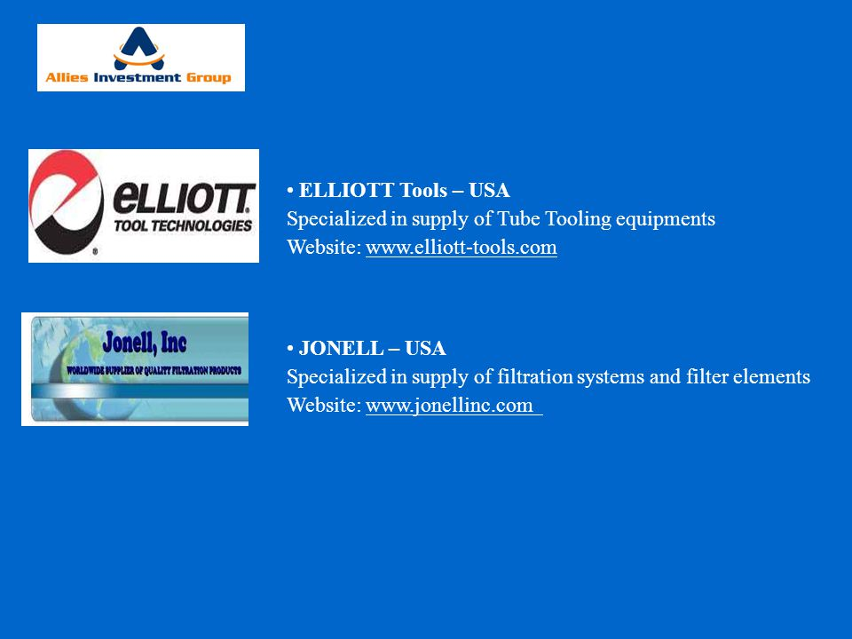 ELLIOTT Tools – USA Specialized in supply of Tube Tooling equipments. Website: www.elliott-tools.com.