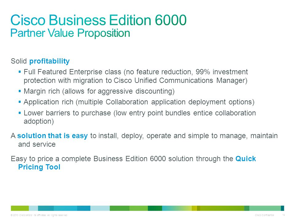Cisco Business Edition 6000 Partner Value Proposition