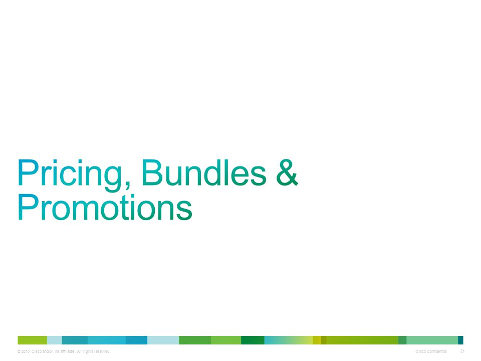 Pricing, Bundles & Promotions