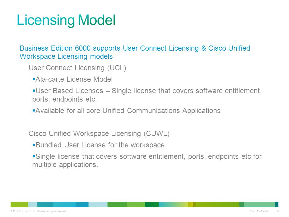Licensing Model Business Edition 6000 supports User Connect Licensing & Cisco Unified Workspace Licensing models.