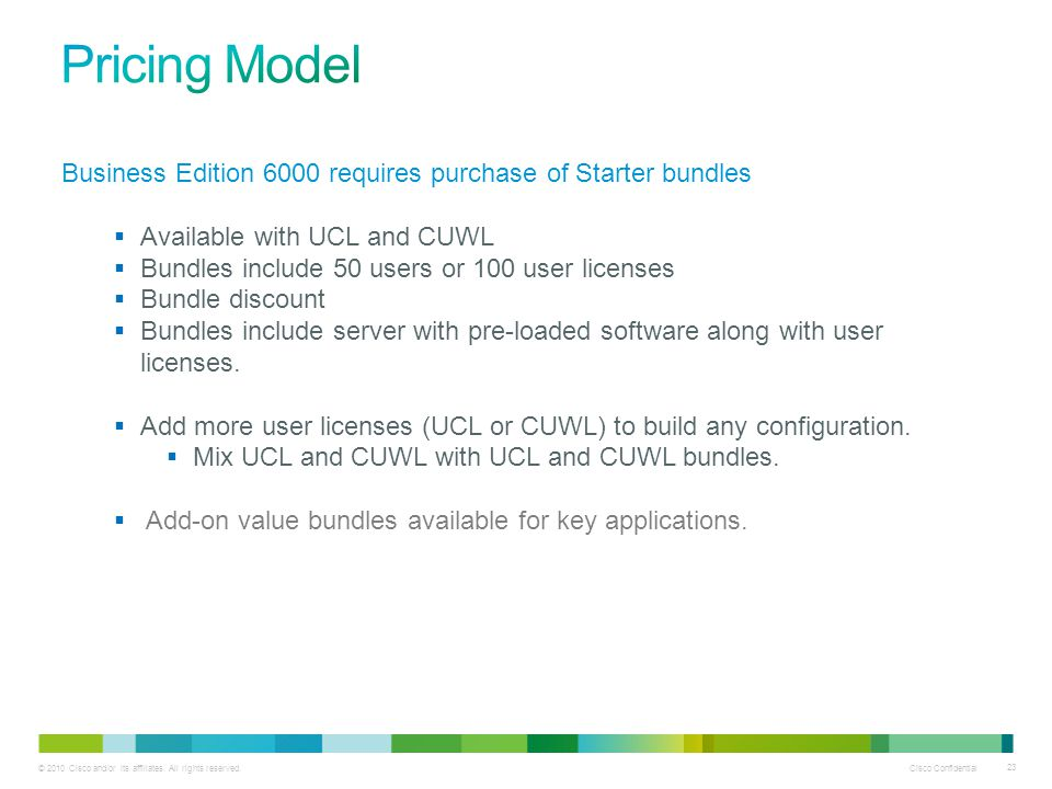Pricing Model Business Edition 6000 requires purchase of Starter bundles. Available with UCL and CUWL.
