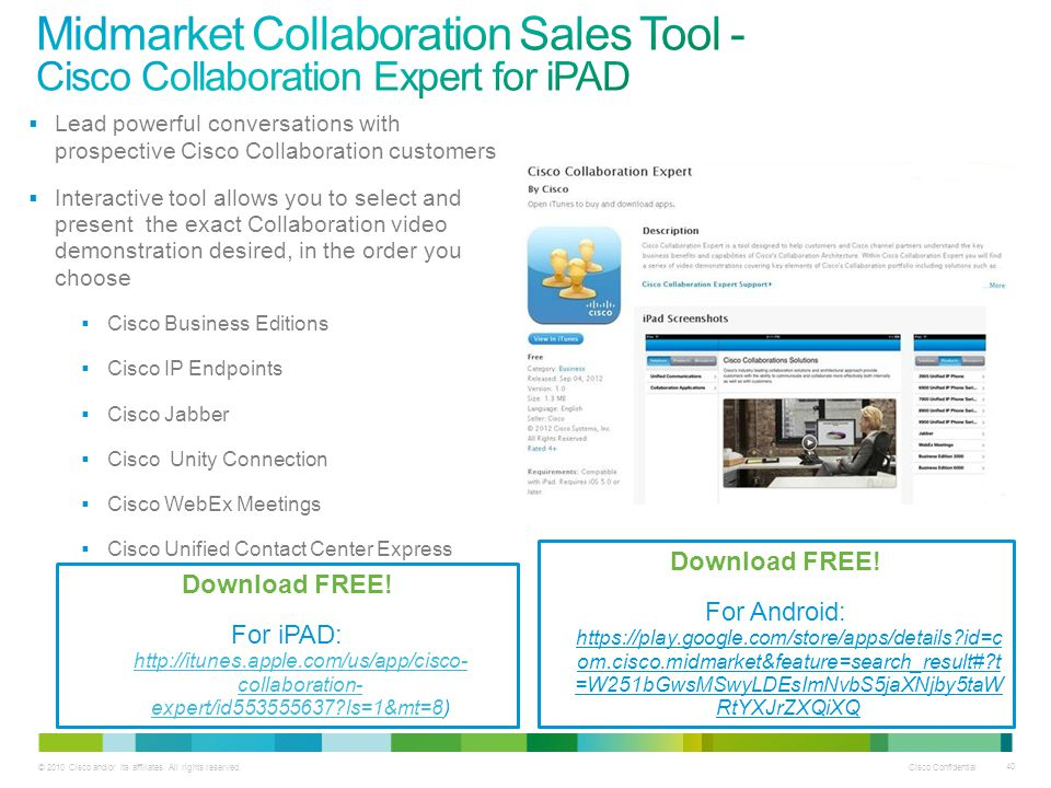 Midmarket Collaboration Sales Tool - Cisco Collaboration Expert for iPAD