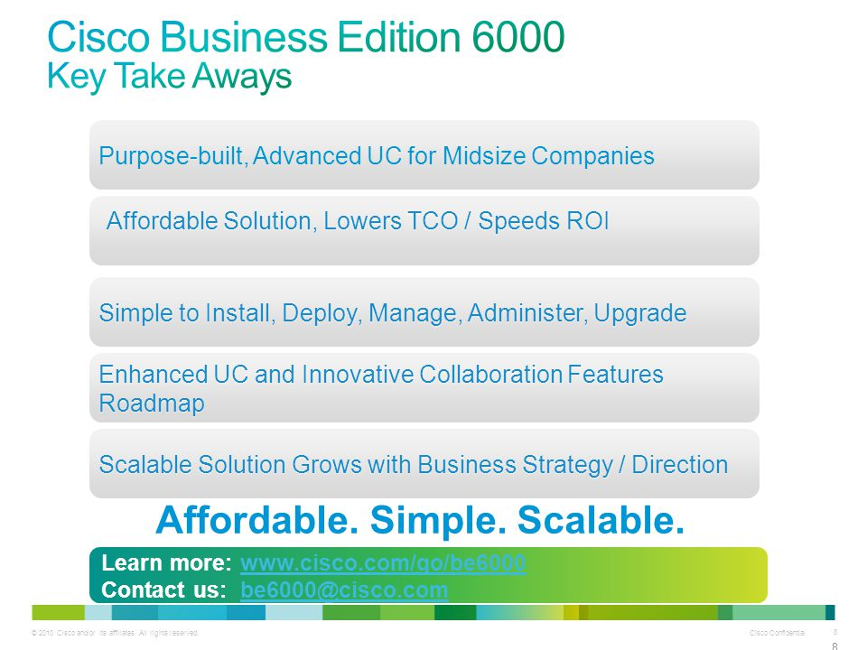 Cisco Business Edition 6000 Key Take Aways
