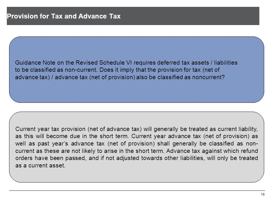 Provision for Tax and Advance Tax