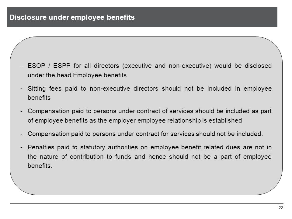 Disclosure under employee benefits