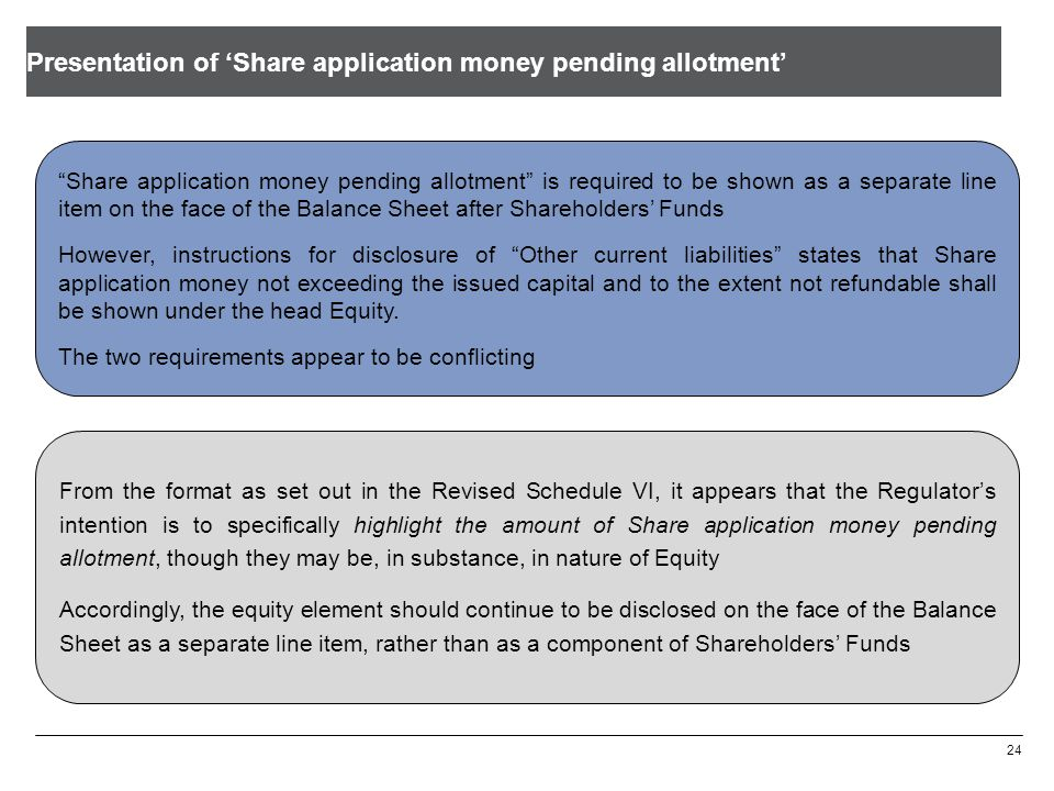 Presentation of 'Share application money pending allotment'