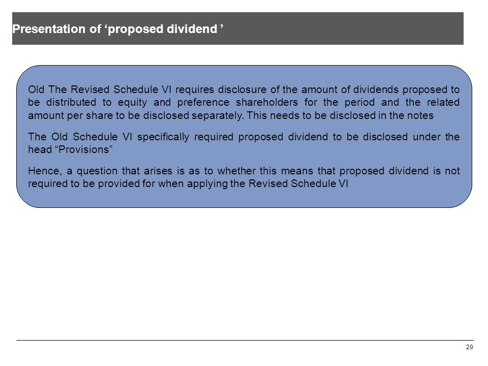 Presentation of 'proposed dividend '