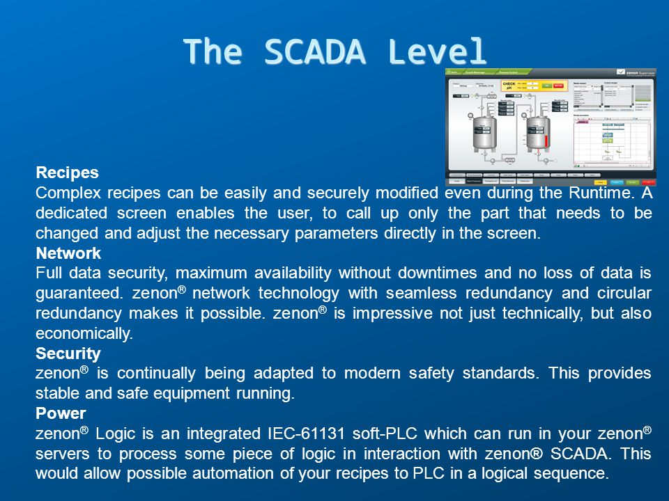 The SCADA Level Recipes