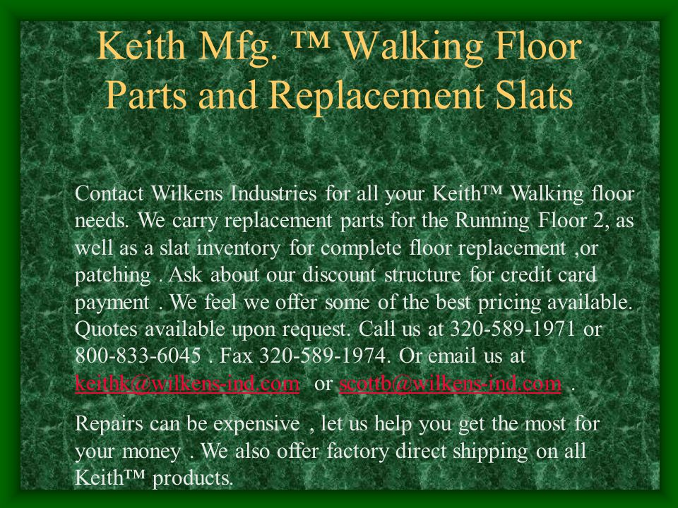 Keith Mfg. ™ Walking Floor Parts and Replacement Slats
