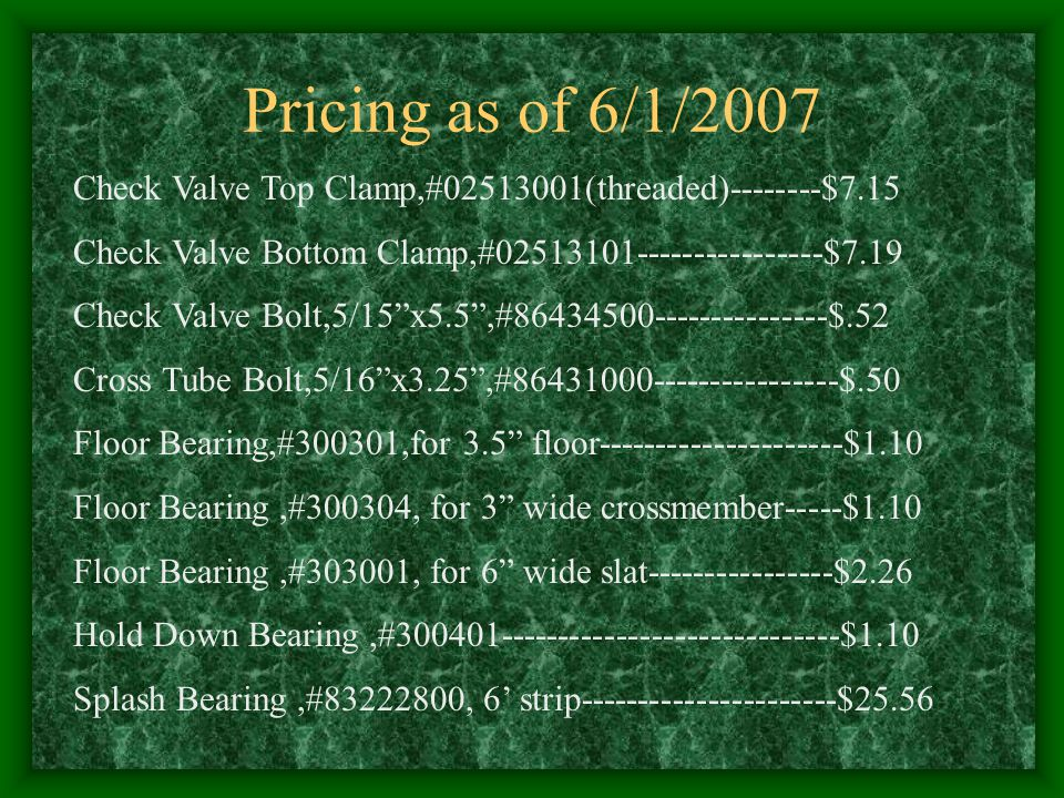 Pricing as of 6/1/2007 Check Valve Top Clamp,#02513001(threaded)--------$7.15. Check Valve Bottom Clamp,#02513101----------------$7.19.