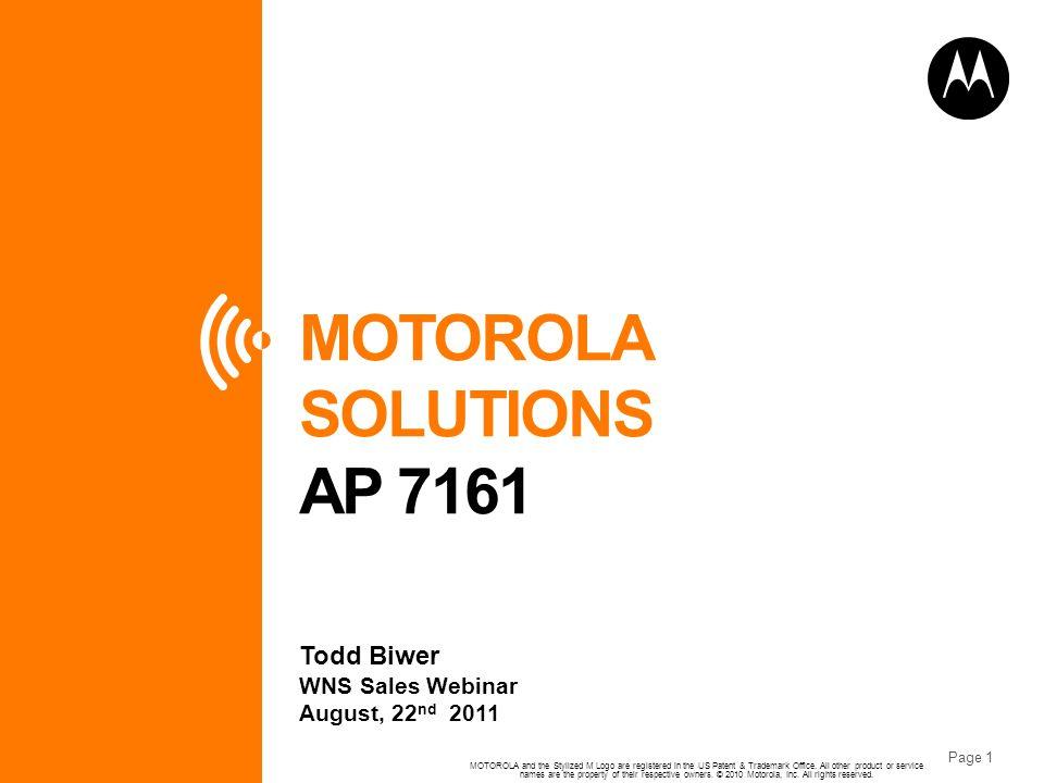 MOTOROLA SOLUTIONS AP 7161 Todd Biwer WNS Sales Webinar