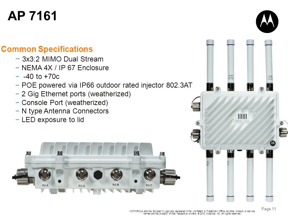 AP 7161 Common Specifications 3x3:2 MIMO Dual Stream