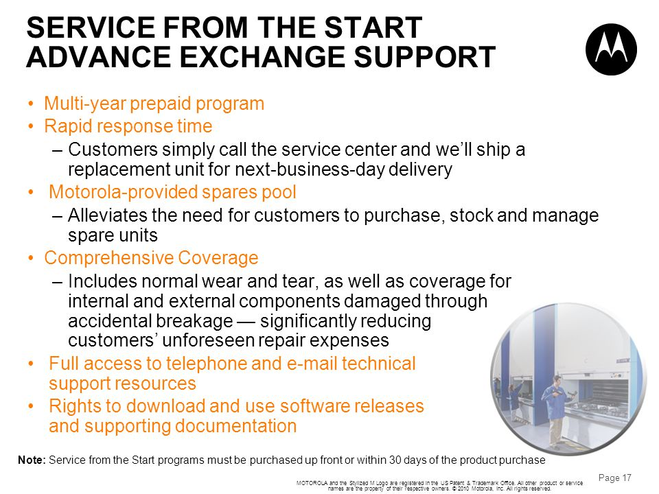 SERVICE FROM THE START ADVANCE EXCHANGE SUPPORT