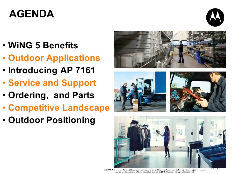 AGENDA WiNG 5 Benefits Outdoor Applications Introducing AP 7161